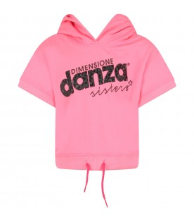 Neon fuchsia girl sweatshirt with black logo