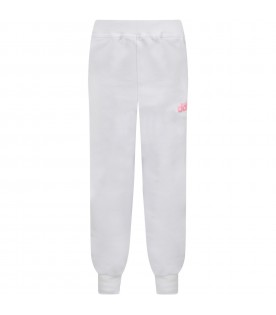 White sweatpant for girl with logo