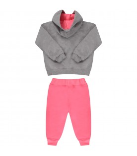 Neon fuchsia and grey babygirl suit with logo