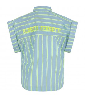 Light blue shirt for girl with neon yellow logo
