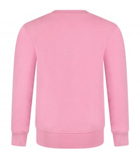 Pink girl sweatshirt,with black logo
