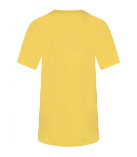 Yellow girl dress with black logo and writing