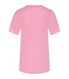 Pink girl dress with black logo and writing