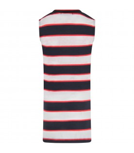 Multicolor girl dress with logo