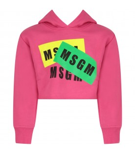 Fuchsia girl sweatshirt with black logos