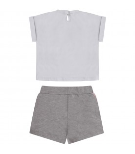 White and grey girl suit with logo