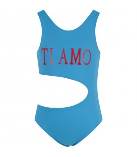 Light blue girl swimsuit with red writing