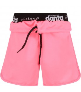 Neon fuchsia girl short with logos