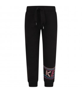 Black pants with logo for girl
