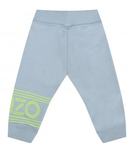 Light blue pants with neon yellow logo for baby boy
