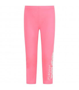 Neon fuchsia girl leggings with white logo