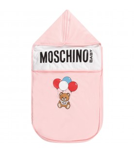 Pink babygirl sleeping bag with Teddy Bear