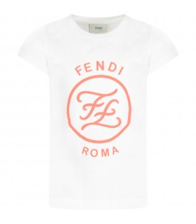 White T-shirt with logo for girl