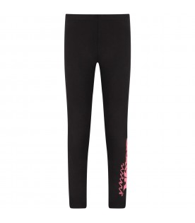 Black girl leggings with fuchsia logo