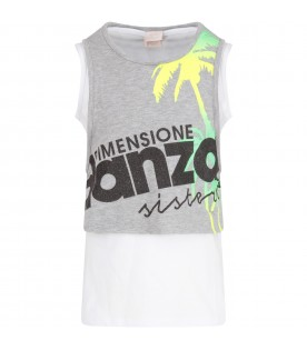 Grey and white girl tank top with colorful palms