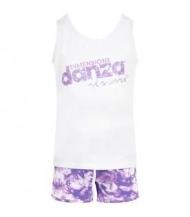 White and purple girl suit with logo