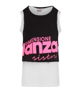 Black and white girl tank top with logo