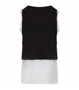 Black and white tank top with logo for girl