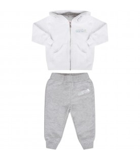 White and grey babygirl suit with logo