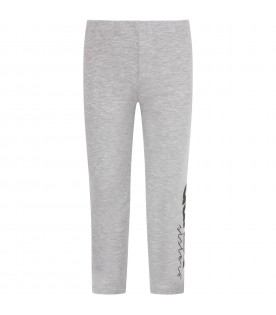 Grey leggings with black logo for girl