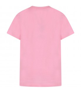 Pink girl T-shirt with black logo and writing