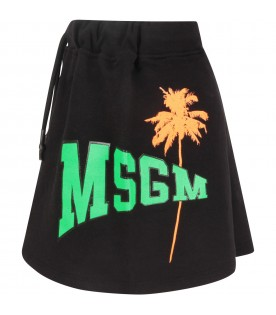 Black skirt with neon green logo for girl
