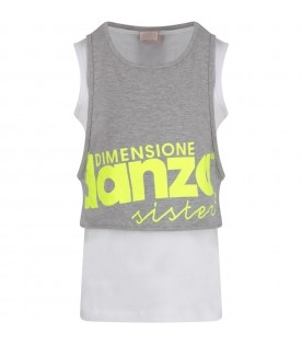 Grey and white girl tank top with logo