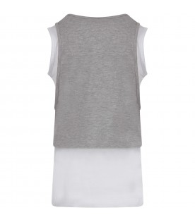 Grey and white tank top with logo for girl