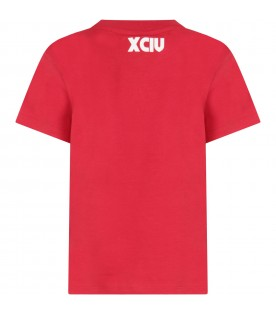 Red kids T-shirt with light blue logo