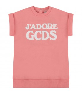 Pink babygirl dress with logo