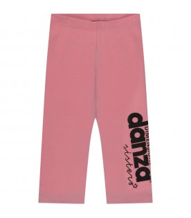 Pink girl leggings with logo