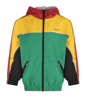 Color block windbreaker for boy with logo