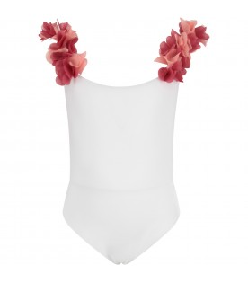 White girl swimsuit with flowers