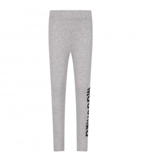 Grey girl leggings with logo