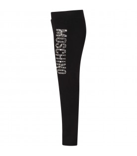 Black girl leggings with rhinestoned logo