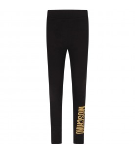 Black girl leggings with gold logo