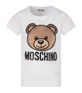 White girl T-shirt with sequined Teddy Bear