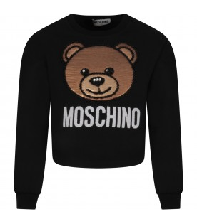 Black girl sweatshirt with sequined Teddy Bear