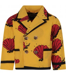 Yellow jacket for boy with red shells