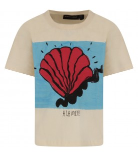 Ivory kids T-shirt with shell
