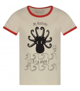 Ivory kids T-shirt with octopus