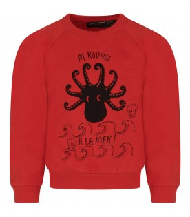 Red kids sweatshirt with octopus