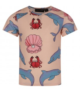 T-shirt rosa per bambina con stampe colorate