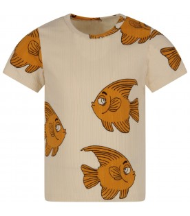 Ivory kids T-shirt with fishes