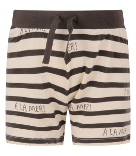 Ivory and grey kids short with grey writing