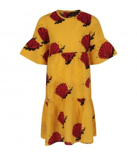Yellow dress for girl with red shells