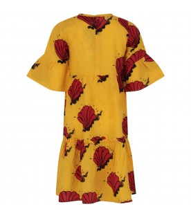 Yellow girl dress with red shells