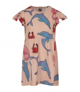 Pink babygirl dress with colorful prints