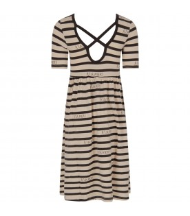 Ivory and grey girl dress with grey writing