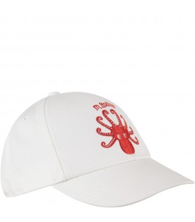 Ivory hat for kid with logo